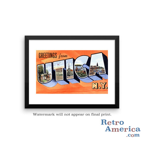 Greetings from Utica New York NY 1 Postcard Framed Wall Art