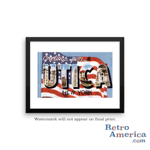 Greetings from Utica New York NY 2 Postcard Framed Wall Art