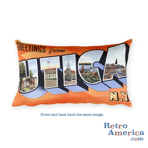 Greetings from Utica New York Throw Pillow 1