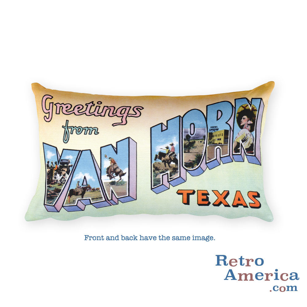 Greetings from Van Horn Texas Throw Pillow
