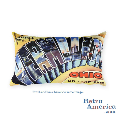 Greetings from Vermilion Ohio Throw Pillow