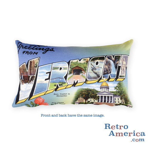 Greetings from Vermont Throw Pillow 1