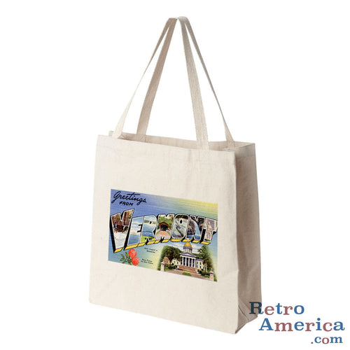 Greetings from Vermont VT 1 Postcard Tote Bag