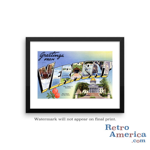Greetings from Vermont VT 1 Postcard Framed Wall Art