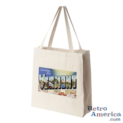 Greetings from Vermont VT 2 Postcard Tote Bag