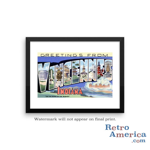 Greetings from Vincennes Indiana IN Postcard Framed Wall Art