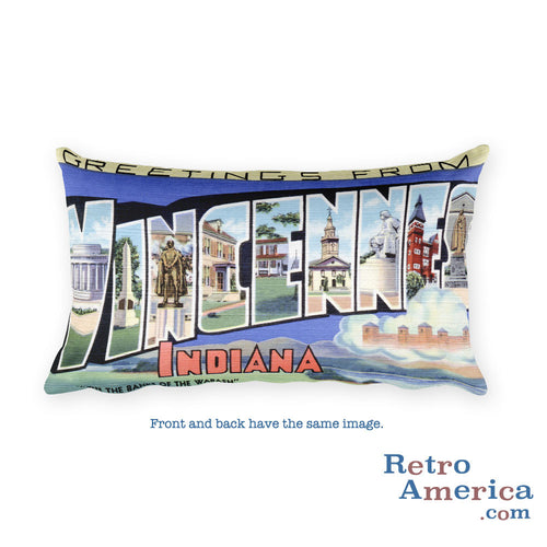 Greetings from Vincennes Indiana Throw Pillow