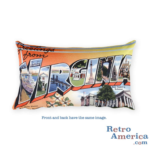 Greetings from Virginia Throw Pillow 1