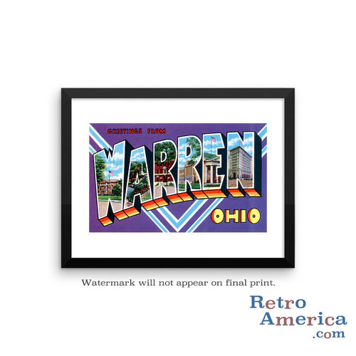 Greetings from Warren Ohio Dc Postcard Framed Wall Art