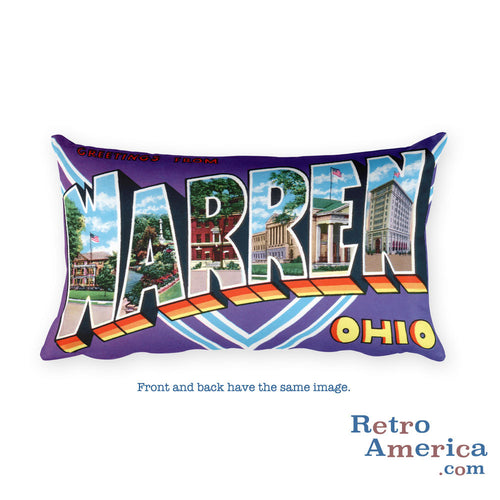 Greetings from Warren Ohio Throw Pillow