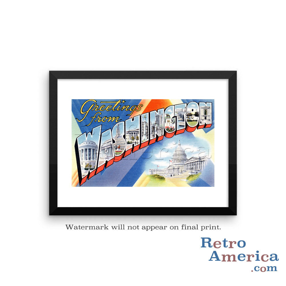 Greetings from Washington DC 1 Postcard Framed Wall Art
