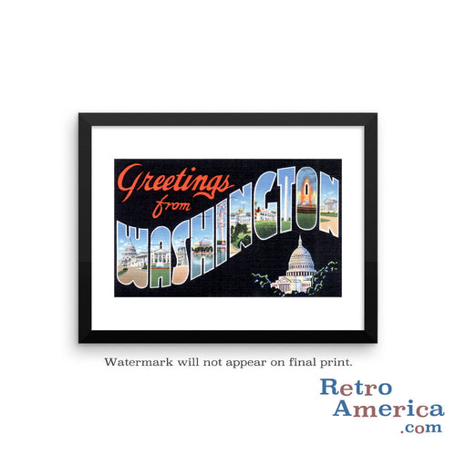 Greetings from Washington DC 2 Postcard Framed Wall Art