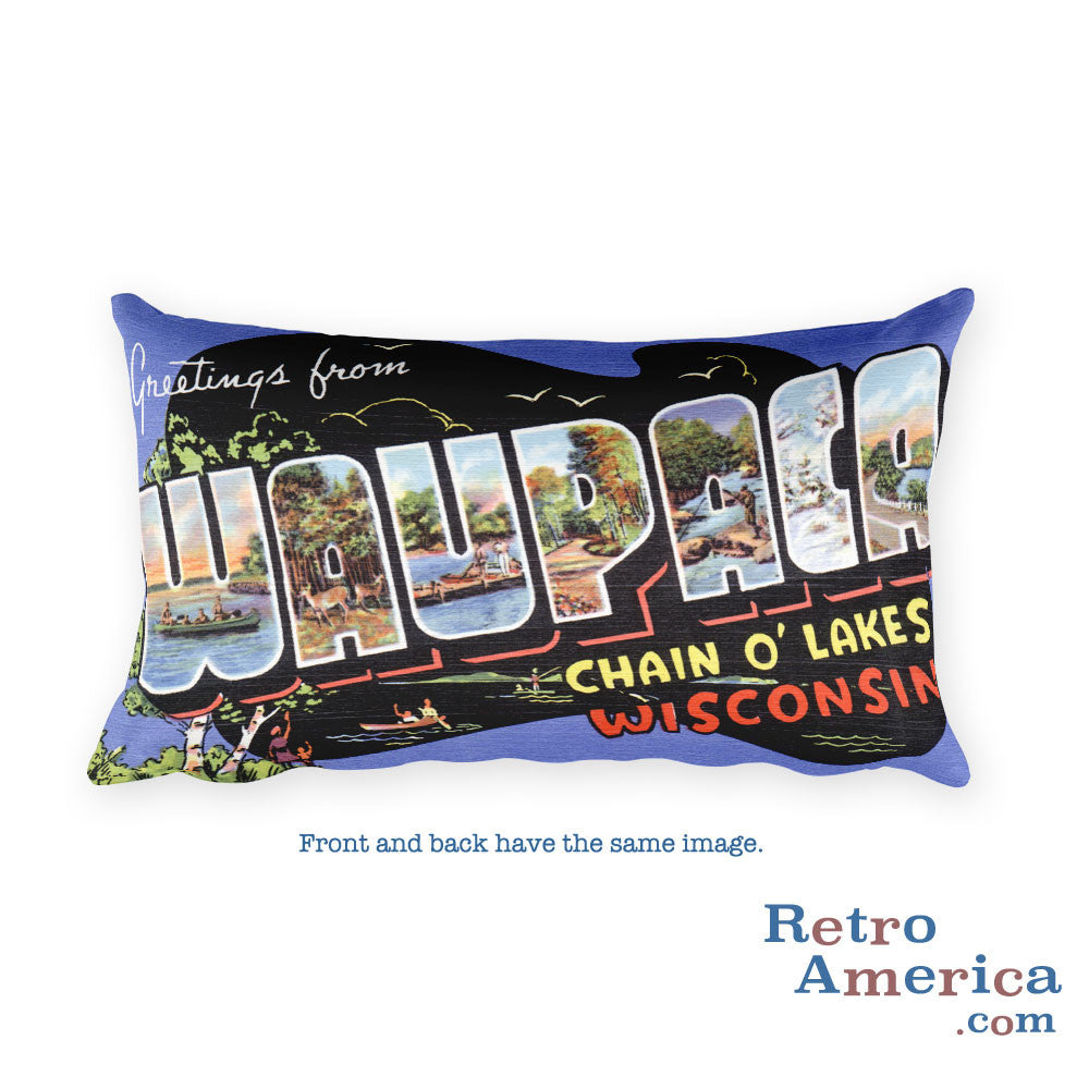 Greetings from Waupaca Wisconsin Throw Pillow
