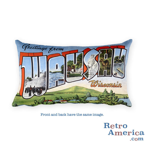 Greetings from Wausau Wisconsin Throw Pillow