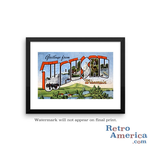Greetings from Wausau Wisconsin WI Postcard Framed Wall Art