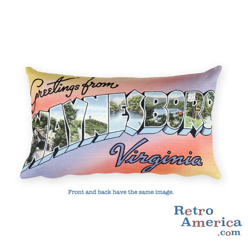 Greetings from Waynesboro Virginia Throw Pillow