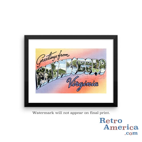 Greetings from Waynesboro Virginia VA Postcard Framed Wall Art
