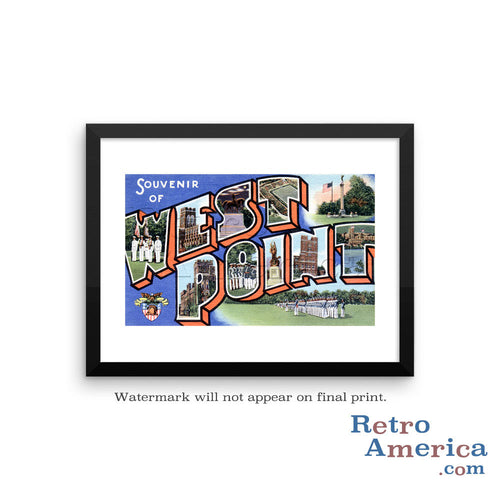 Greetings from West Point New York NY Postcard Framed Wall Art