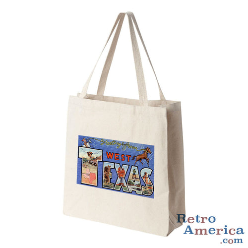 Greetings from West Texas TX Postcard Tote Bag