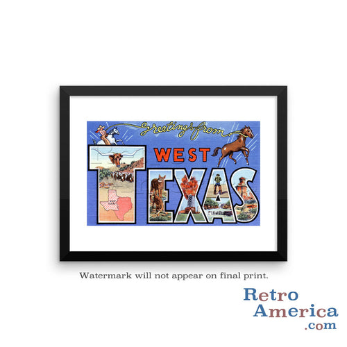 Greetings from West Texas TX Postcard Framed Wall Art