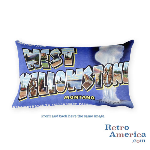 Greetings from West Yellowstone Montana Throw Pillow
