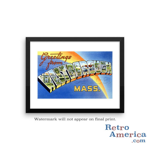 Greetings from Westborough Massachusetts MA Postcard Framed Wall Art