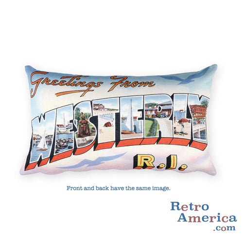Greetings from Westerly Rhode Island Throw Pillow