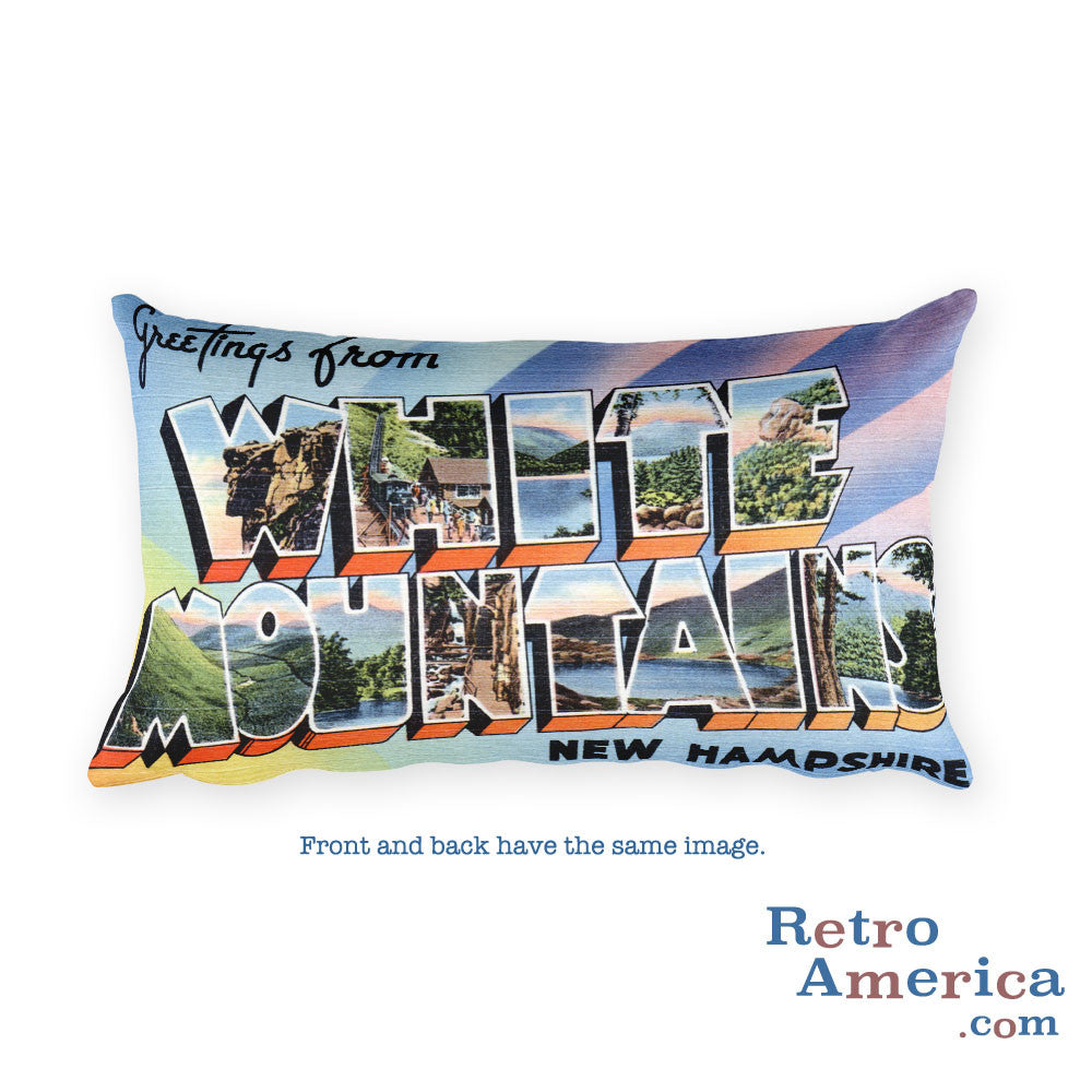 Greetings from White Mountains New Hampshire Throw Pillow
