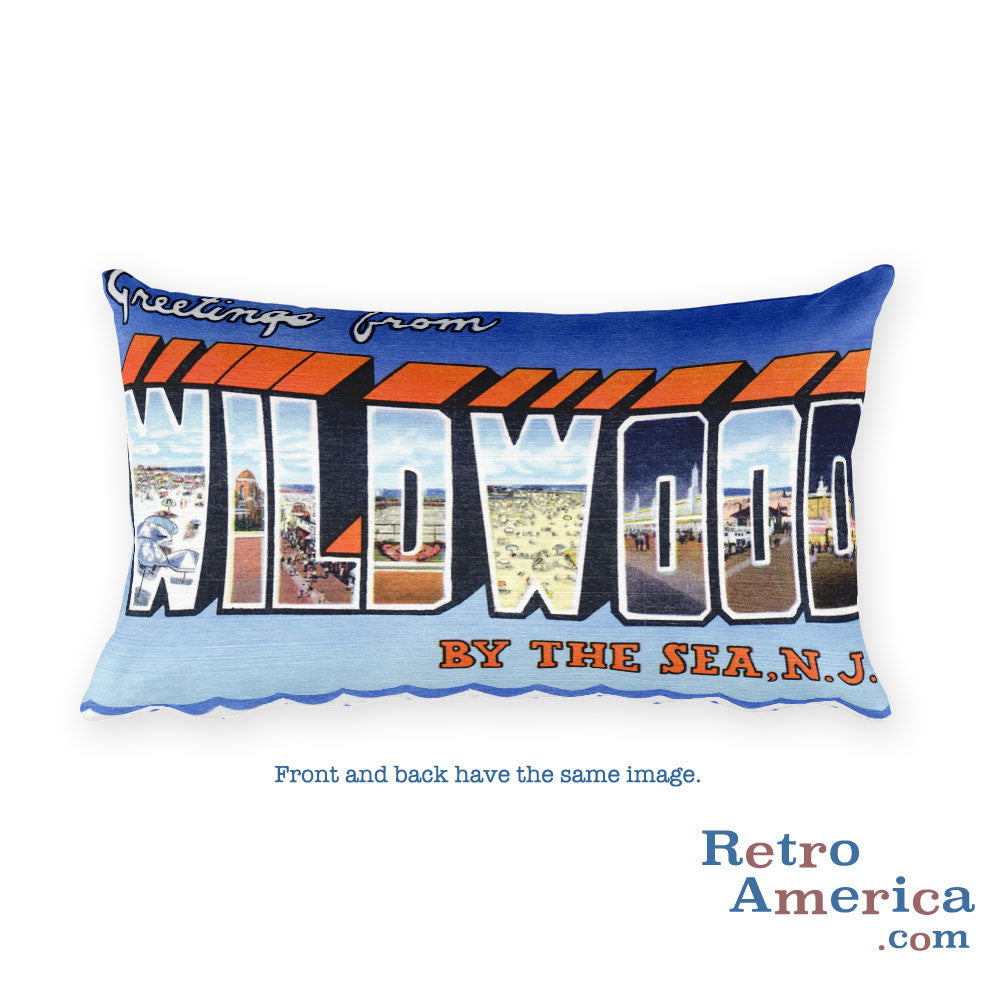 Greetings from Wildwood By The Sea New Jersey Throw Pillow 1