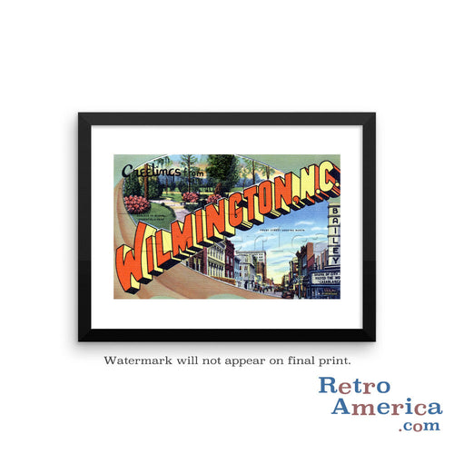 Greetings from Wilmington North Carolina NC 2 Postcard Framed Wall Art