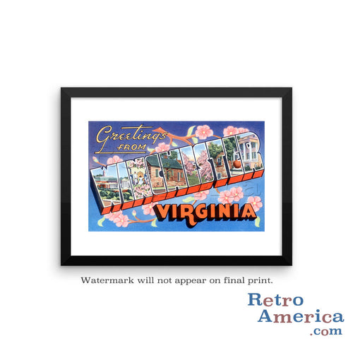 Greetings from Winchester Virginia VA Postcard Framed Wall Art