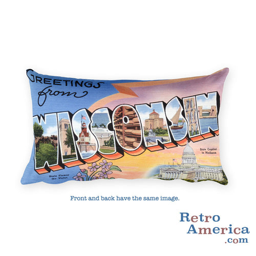 Greetings from Wisconsin Throw Pillow 1