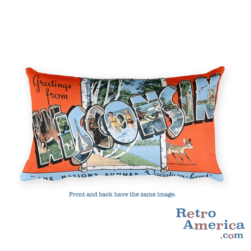 Greetings from Wisconsin Throw Pillow 2