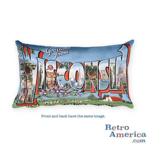 Greetings from Wisconsin Throw Pillow 3
