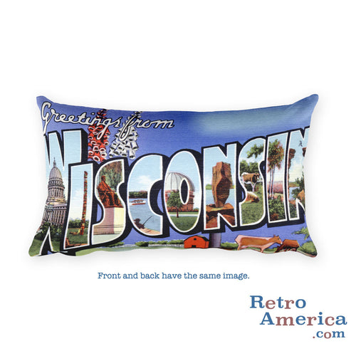 Greetings from Wisconsin Throw Pillow 4