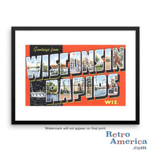 Greetings from Wisconsin Rapids Wisconsin WI Postcard Framed Wall Art