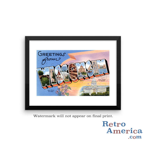 Greetings from Wisconsin WI 1 Postcard Framed Wall Art