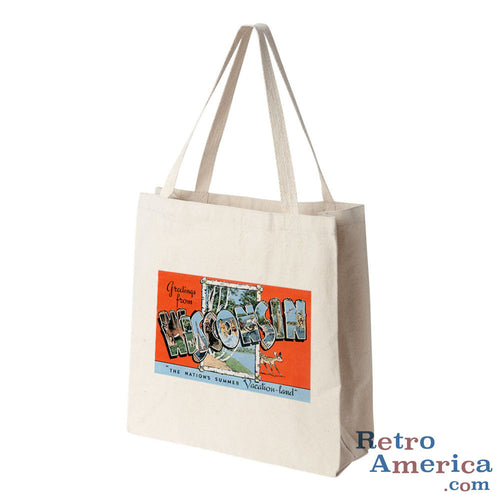 Greetings from Wisconsin WI 2 Postcard Tote Bag