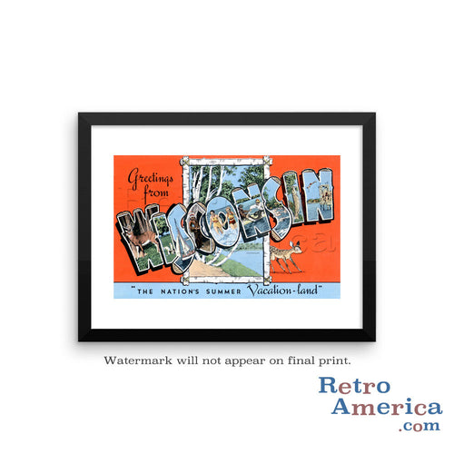 Greetings from Wisconsin WI 2 Postcard Framed Wall Art