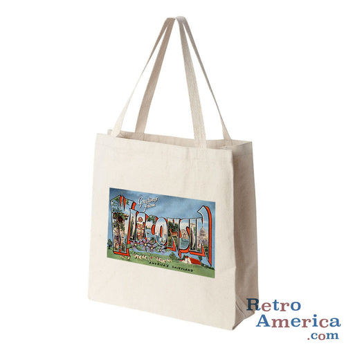 Greetings from Wisconsin WI 3 Postcard Tote Bag