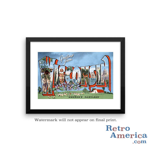 Greetings from Wisconsin WI 3 Postcard Framed Wall Art
