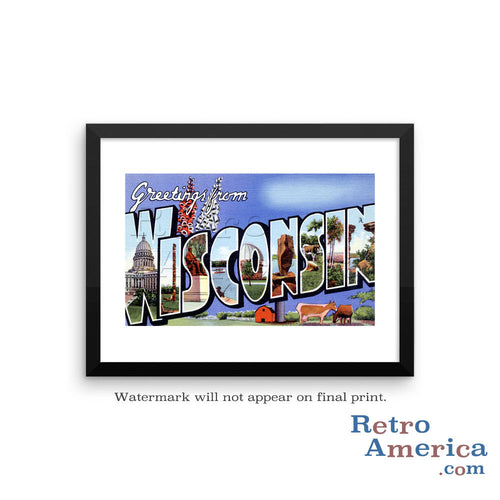 Greetings from Wisconsin WI 4 Postcard Framed Wall Art