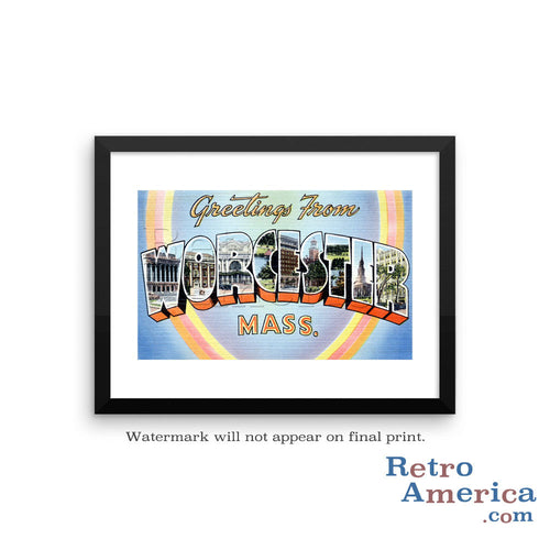Greetings from Worcester Massachusetts MA Postcard Framed Wall Art