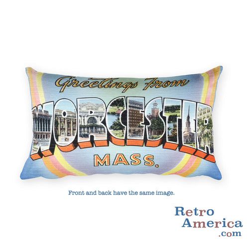 Greetings from Worcester Massachusetts Throw Pillow