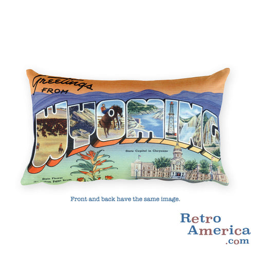 Greetings from Wyoming Throw Pillow 1