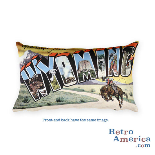 Greetings from Wyoming Throw Pillow 2