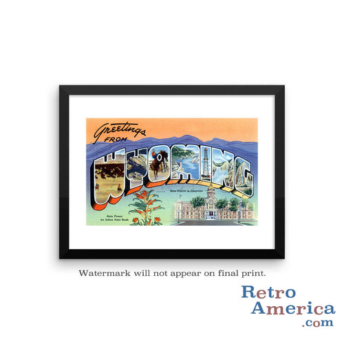 Greetings from Wyoming WY 1 Postcard Framed Wall Art