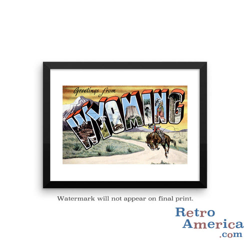Greetings from Wyoming WY 2 Postcard Framed Wall Art