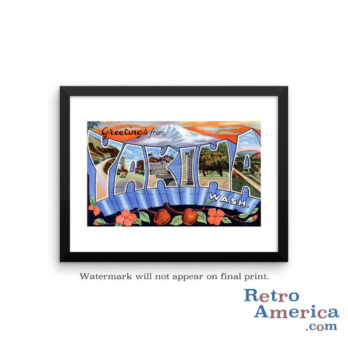 Greetings from Yakima Washington WA Postcard Framed Wall Art