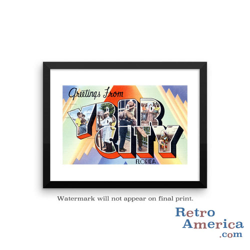 Greetings from Ybor City Florida FL Postcard Framed Wall Art